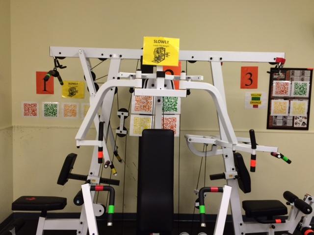 Another workstation with QR-codes and color coded equipment